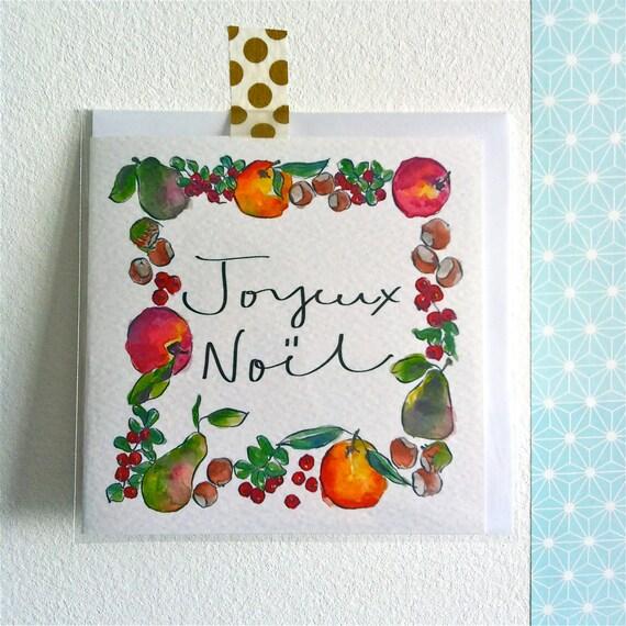 Joyeux Noel Apple.Christmas Card Joyeux Noel Oranges Apples Pears Nuts Cranberries Christmas Fruits Illustrations