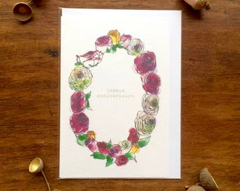 Birthday Card - Joyeux Anniversaire - Multicolour Roses Wreath - Illustration
