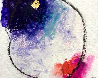 """Original Pastel Watercolour and Pencil drawing with gold leaf """"#5"""""""