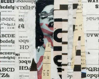 an alphabet for inner panic / original painting / collage / art gift / art lover / mixed media painting / art on wood / home decor