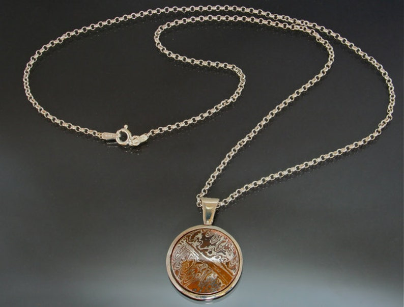 Asian Round Mokume Gane Necklace Copper Silver Mokume Fused Nature Inspired Handmade in BC Canada Wood Grain Metal Elegant