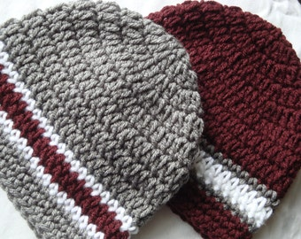 Twin Boys Baby Maroon and Gray Crochet Hats / Beanies, Texas A&M, TAMU, Aggie, Mississippi State Bulldog