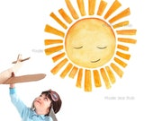 sun wall decal , sun fabric stickers, sunshine nursery wall art, gender neutral decals, happy sun face decal, watercolor baby decor