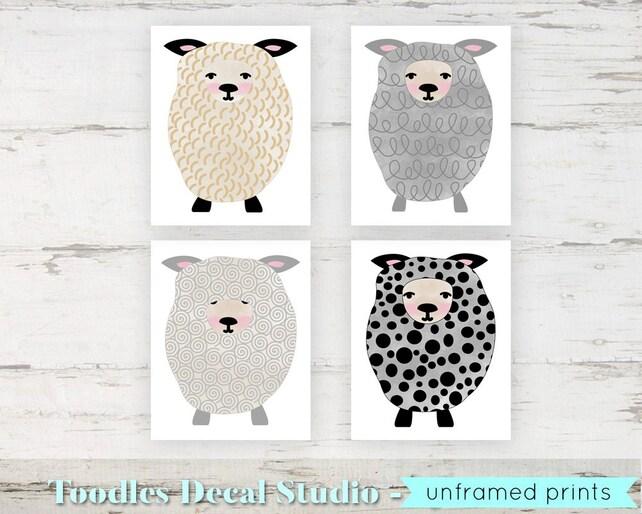 Girls Sheep Wall Art Prints/ Baby Lamb Wall art/ 8 x   Etsy