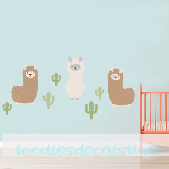 Llama And Cacti Wall Decals Alpaca Nursery Decal Cactus Decals Alpaca Decals Llama Decals Nursery Wall Stickers Alpaca Stickers