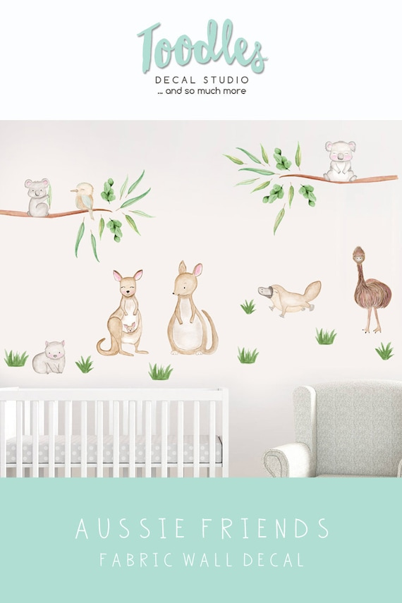 australian animal wall decal nursery cute kangaroo fabric | etsy