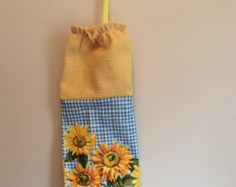 Plastic Bag Holder - Grocery Bag Dispenser - Sunflowers - Shopping Bag Dispenser/Holder