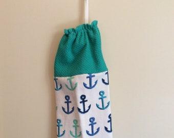 Plastic Bag Holder - Grocery Bag Dispenser - Anchors - Boats  - Nautical - Lake - Shopping Bag Dispenser/Holder