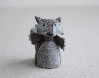 The Wolf -  Finger Puppet Sewing Pattern - DIY Mini plushie pattern for felt Wolf from Red Riding Hood Soft Toy