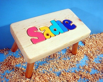 Personalized Wooden Puzzle Step Stool    ORDER by NOV 1ST for HOLIDAY delivery