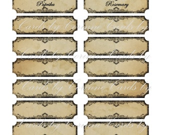 Vintage inspired 30  black /& white spice food labels stickers  glossy laminated