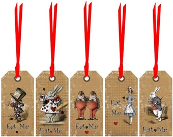 Alice in Wonderland 20 eat me, drink me  party tags decoration