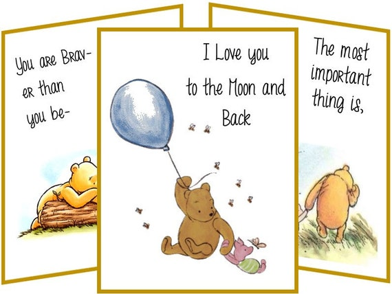 Winnie the Pooh 8 table tent cards with quotes party favor table decoration
