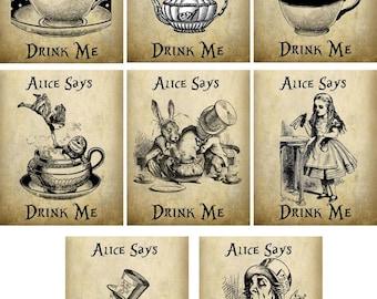 Alice in Wonderland mad hatter tea bag envelope tea party set of 8