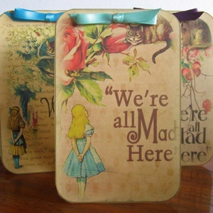 Alice in Wonderland Mad Hatter 8 table tent cards party decoration