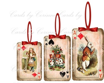 Alice in Wonderland playing card Christmas ornaments set of 8