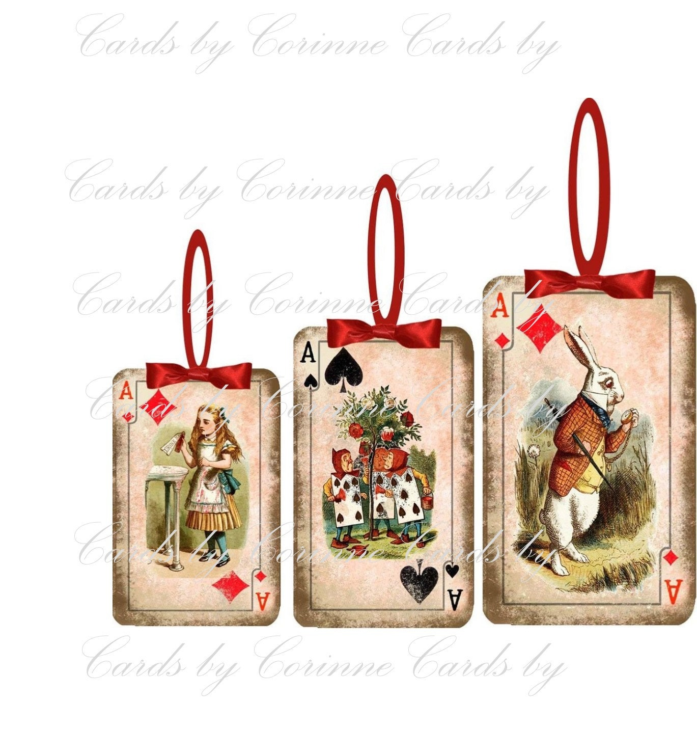Alice In Wonderland Playing Card Christmas Ornaments Set