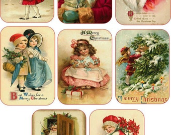 Christmas 8 vintage inspired pictures small note cards tags with envelopes