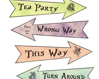 Alice in Wonderland 4 party arrows pastel grunge New larger size
