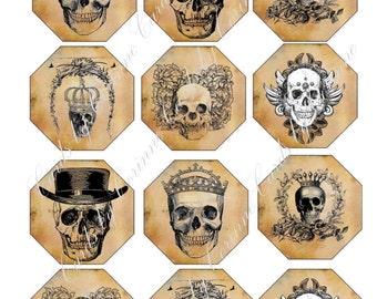 Halloween 12 labels stickers skulls sepia steampunk