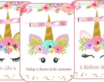 Unicorn 8 table tent cards centerpiece party decoration