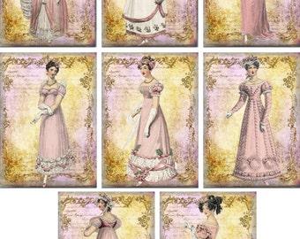 Jane Austen Regencypink cancelleria con 8 buste avorio