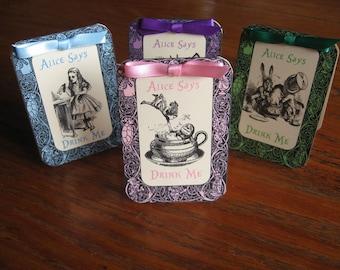 Alice im Wunderland Tabelle Zelt Karten Teegesellschaft trinken mich Satz von 8 mit Seidenbändern