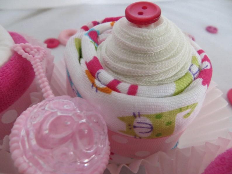 Baby Shower Gift Set BodysuitSocks Cupcakes with WashclothDiaper Cupcakes Set of 4 Baby Girl