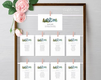 Seating Chart / Guest Cards - Rustic Mountains