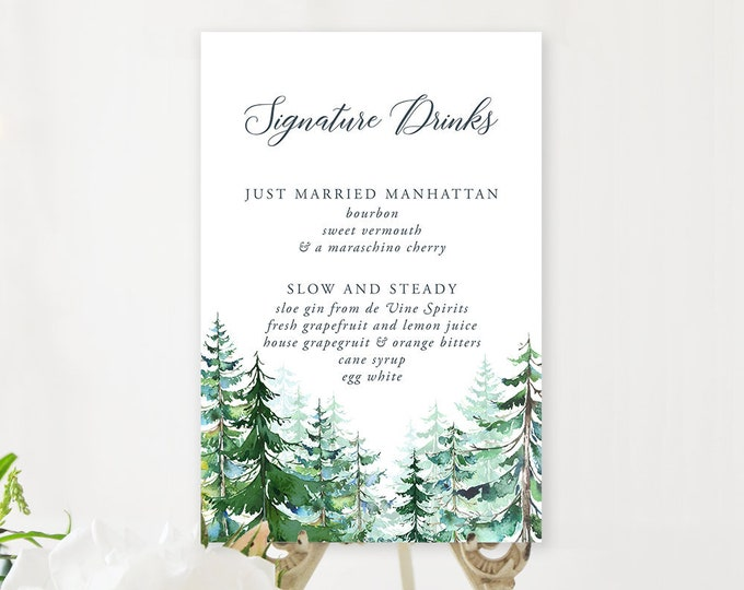 Signature Drinks Sign - Evergreen Forest (Style 13608)