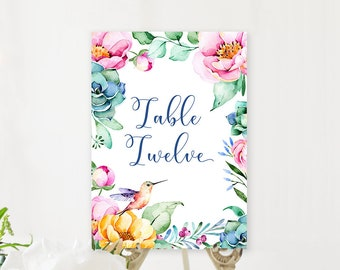 Table Number Cards - Lovely Garden (Style 13847)