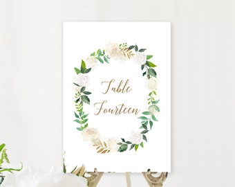 Table Number Cards - Gold & Ivory (Style 13849)
