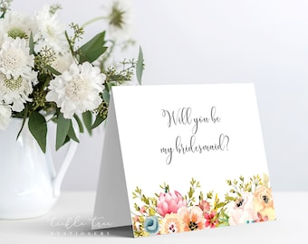 Printable Bridal/Wedding Party Card - Will You Be My Bridesmaid?
