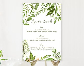 Signature Drinks Sign - Whispering Garden (Style 13799)