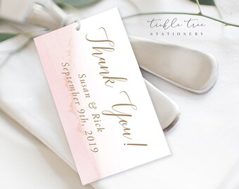 Favour Tags - Modern and Subtle Golds & Pinks (Style 13844)