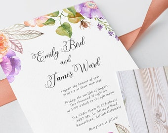 Printable Wedding Invitations - English Meadow (Style 13058)
