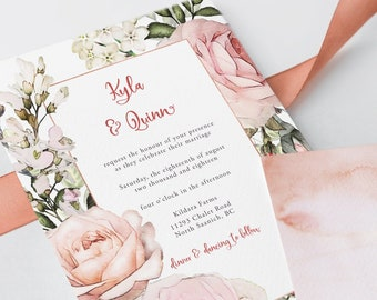 Wedding Invitations - Roses in Bloom (Style 13807)