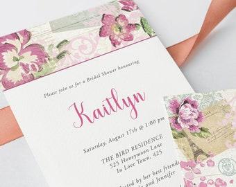 Bridal Shower Invitations - Vintage Rose (Style 13345)