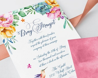 Wedding Invitations - Hummingbird Garden (Style 13662)