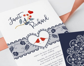 Wedding Invitations - Lovebirds & Lace (Style 13629)