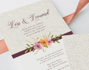 Wedding Invitations - Wildflowers & Lace (Style 13565)