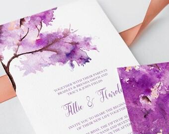 Wedding Invitations - Purple Autumn (Style 13706)