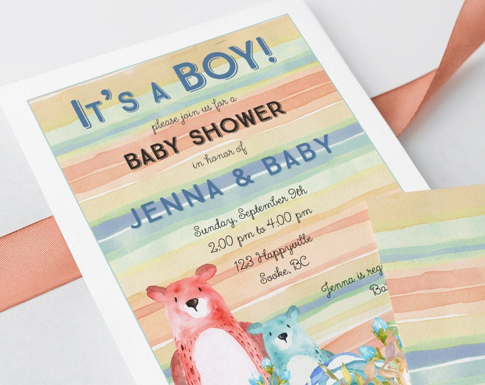 Baby Shower Invitations - It's a Boy Bears (Style 13573)
