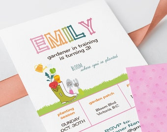 Birthday Party Invitations - Gardener in Training (Style 13433)