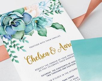 Wedding Invitations - Teal Garden (Style 13744)