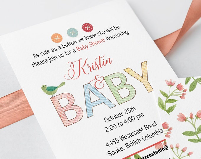 Baby Shower Invitations - Cute as a Button (Style 13226)