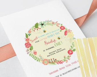 Birthday Party Invitations - Our Little Honey Bee (Style 13376)