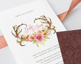 Wedding Invitations - Deer Horn Lake (Style 13636)