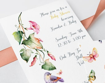 Baby Shower Invitations - Flowers, Birds and Butterflies (Style 13733)