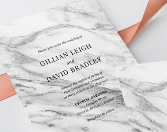 Wedding Invitations - Silver Marble (Style 13729)